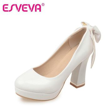 ESVEVA Plus Size 11 12 Women White Shoe Platform Big Bow Tie Mis 39d8e85527e9