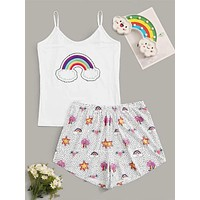 Plus Rainbow Cami Top & Shorts PJ Set