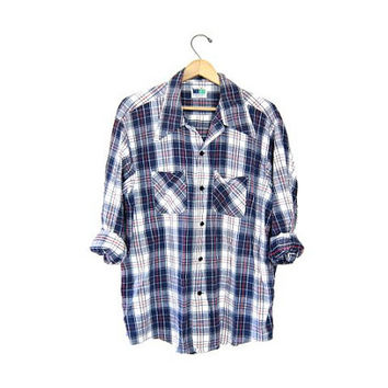 Vintage Plaid Flannel Shirt. Cotton Boyfriend Shirt. Button Up Grunge Shirt. Tomboy coed Flannel. Red White Blue Work Shirt. Grunge M L XL