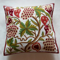 Flower and Berry Embroidery Pillow : Cozyhere