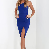 One-Way Ticket Royal Blue One Shoulder Midi Dress