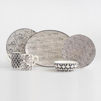 Charcoal and Ivory Alvaro Dinnerware Collection