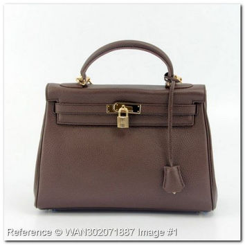 Hermes Kelly 32 Bag  Dark brown. Size 32x22x11cm  ED287SV.