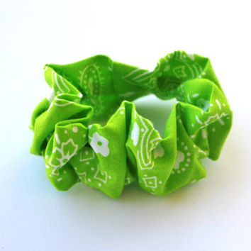 Hair Scrunchy Elastic Hair Tie Lime Green Bandana BandannaTeen 90s Hair Scrunchy Girls Hair Accessory 80s Scrunchies