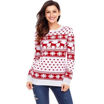 Snowflake Deers Sweaters Fashion 2018 Women Pullovers Winter Jumper Knitwear Ugly Christmas Sweater Santa Pull Femme