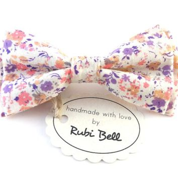 Bow Tie - floral bow tie - wedding bow tie - white bow tie with purple and pink flower pattern - man bow tie - men bow tie - gifts for him