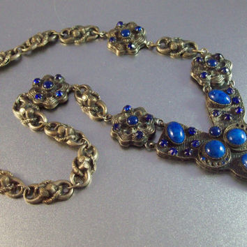 Vintage French Art Deco Gripoix Necklace, Made in France, Lapis Art Glass