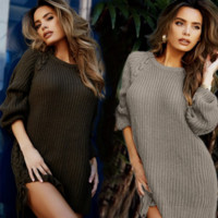 Round neck loose wool  warm  sweater dress B0015545