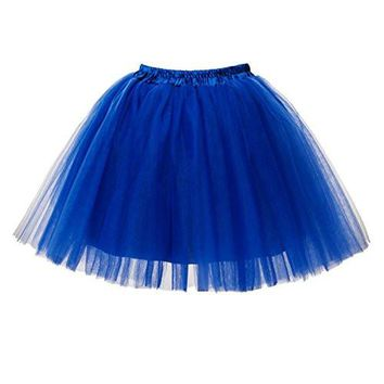 Women's Mini Tutu Ballet Multi-layer Ruffle Frilly Petticoat Skirt Royal Blue