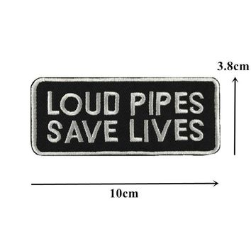 Loud Pipes Save Lives Sew On Biker Patch