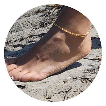 AUGUAU Befettly Womens girls Adjustable Double Layer Handmade Dainty Anklet 14K Gold Fill Boho Beach Foot Chain Round Tube Bead Heart