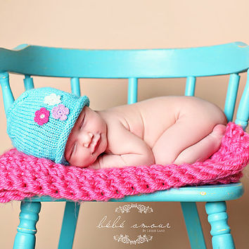 Knit Newborn Hat for Girls – Aqua Blue Hand Knitted Beanie Hat with Flowers