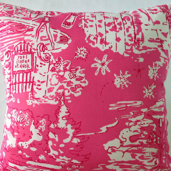 "Lilly Pulitzer Pillow ~ Lilly Pillow Cover ~ Dorm Pillow ~ Sunroom Pillow ~Beach House ~  Skinny Dippin ~ Hot Pink ~ 16"" x 16"""
