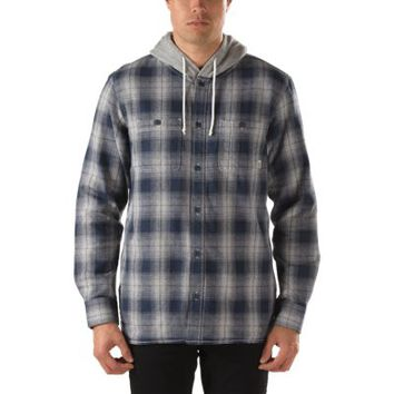 Vans Lopes Hooded Flannel Shirt (Navy Plaid)