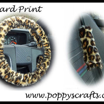 Leopard print Car Steering wheel cover animal faux fur fluffy fuzzy furry and matching seatbelt pad set