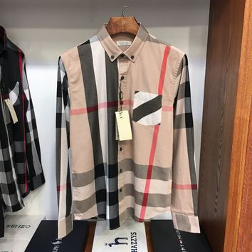 """Burberry""Men All-match Personality Casual Tartan Buttons Commercial Lapel Solid Color Leisure Long Sleeve Shirt Tops"