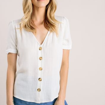 Abby White V-Neck Button Top