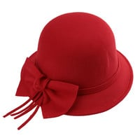 Bow Band Trim Wool Felt Derby Fedora Hat