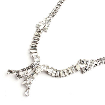 Vintage Sterling Silver Rhinestone Necklace - Silver 1940s Designer Phyllis Costume Jewelry / Art Deco Faux Diamonds