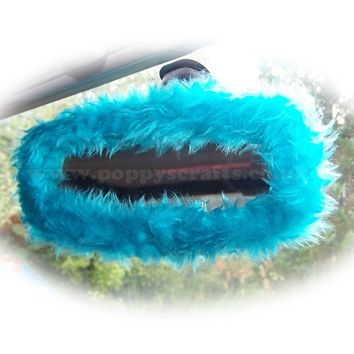 Turquoise / Teal fuzzy rear view interior car mirror cover