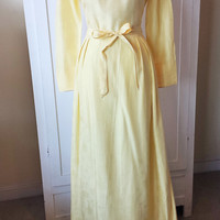 1960s Vintage Yellow Maxi Dress, Bridesmaid, Party or Prom