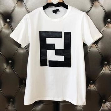 FENDI New Trending Women Stylish Double F Alphabet Leather Embroidery Short Sleeve Round Collar T-Shirt Top White