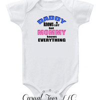Daddy Knows a Lot But Mommy Knows Everything Funny Baby Bodysuit  for the Baby