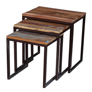 Timbergirl Iron/ Reclaimed Wood 3-piece Nesting Table Set (India) | Overstock.com Shopping - The Best Deals on Coffee, Sofa & End Tables