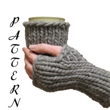 Fingerless Gloves and Coffee Cup Cozy PDF Pattern Download Instantly - Includes 2 Patterns