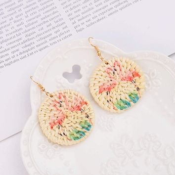 Flamingo Rattan Drop Earrings