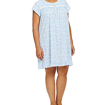 Eileen West Plus Pima Jersey Short Nightgown - Aqua Floral