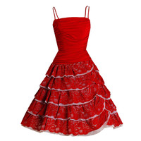 1950's Elegant Ruby-Red Ruched Jersey & Lace Tiered Full Party Dress