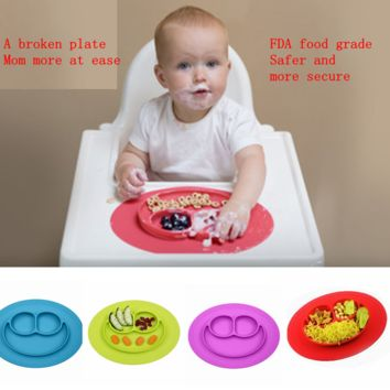 Baby smiling gel silica gel one-piece food pad plate