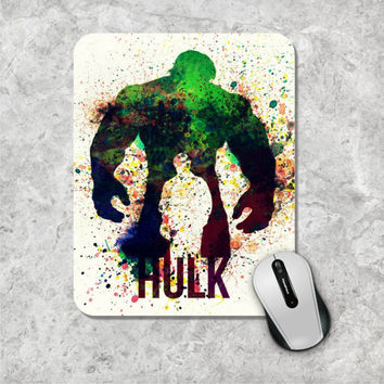 Incredible Hulk Mousepad, Watercolor Mouse Pad, Marvel Comic Mouse Mat, Superhero, The Avengers, Wooden, Personalized Computer, Custom