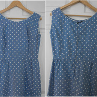 Vintage 50s Polka Dot Dress Blue White Print M S Cotton Sleeveless Spring Summer