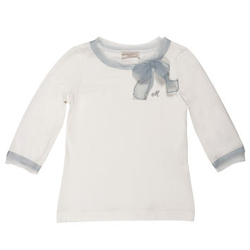 Monnalisa - Girls Jersey Modal Bow Blouse, Off White