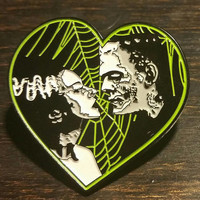 FRANKENSTEIN and BRIDE Heart Enamel Pin Horror of classic scary movie patch
