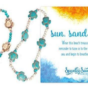 2 Pack Starfish or Turtle Anklets Beachy Howlite Starfish Stretch Anklet  2 Pack | SPUNKYsoul Beach Collection