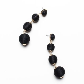 Wrapped Ball Drop Earrings - Black