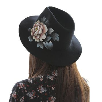 new luxury Wool Wide Brim Floppy Felt Trilby Hand Painted flower Fedora Hat For Elegant Women Ladies Winter Autumn Church Hat
