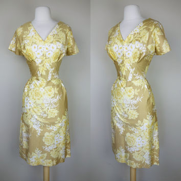 1960s yellow dress, floral print Edith Flag wiggle sheath dress, polished cotton short sleeve V neck dress