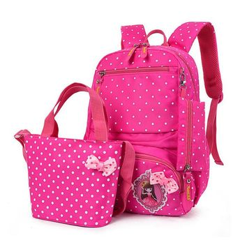 NEW 3 Pcs/set pink polka dot women backpack canvas printing school bags for teenagers girls backpacks cute princess schoolbag