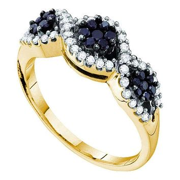 14kt Yellow Gold Women's Round Black Color Enhanced Diamond Flower Cluster Band Ring 1/2 Cttw - FREE Shipping (US/CAN)