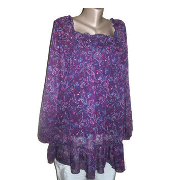 Boho Tunic, Shabby Chic, Oversized Tunic, Plus Size Clothing, Maternity Clothing, Purple Pink Blue White, Women Fashion, Boho Clothing, OOAK