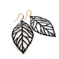Black Textured Leaf Earrings With Beautiful Gold Earwires