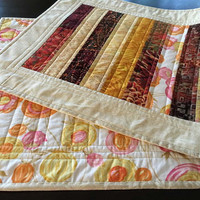 Quilted Table Runner - 19.25 inches x 46.5 inches - Fall, Autumn, Floral Pop, Quiltsy Handmade