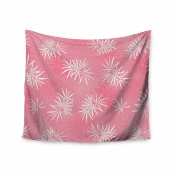 """Julia Grifol """"Paradise Flowers"""" Pink White Vector Wall Tapestry"""