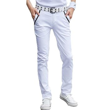 RUMEIAI New Fashion Business Trousers 2017 Spring Slim Skinny White Pants Cotton Male Summer Casual Harem Men Pants 28-44 Size