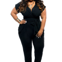 Black Short Sleeve Waist Tie Jumpsuit