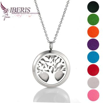 316L Stainless steel charm locket Essential Oil Diffuser Necklace Perfume Pendant Necklace Aromatherapy 30mm locket